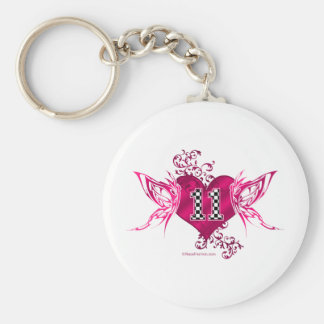 race car number 11 butterfly keychain