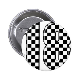 race car number 18 2 inch round button