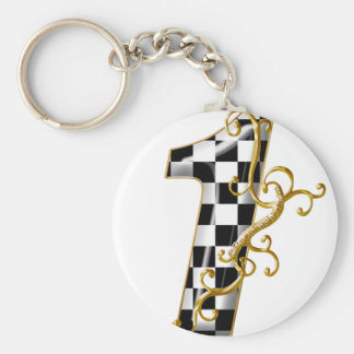 race car number 1 basic round button keychain