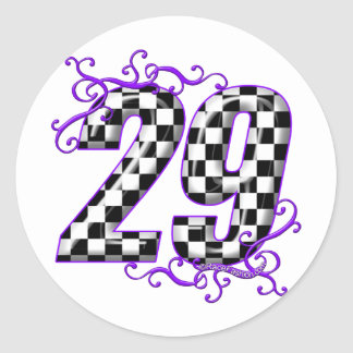 Race car number 29 round sticker
