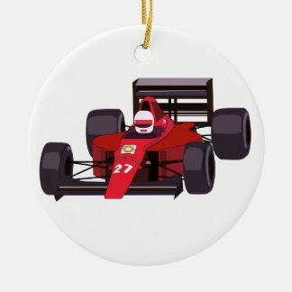 Race Car Round Ceramic Ornament
