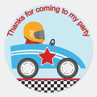 Race car round thank you sticker customize