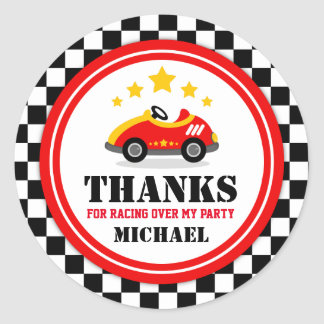 Race Car Thank You Favor Tag Round Sticker