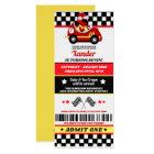 Race Car Ticket Style Birthday Party Invitation