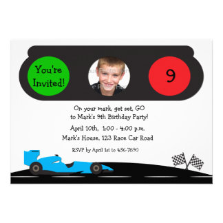 Race Car Traffic Light Birthday Photo Invitation