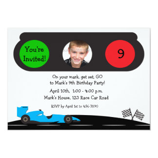 Race Car, Traffic Light Birthday Photo Invitation