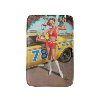 Race car trophy vintage pinup girl bath mat