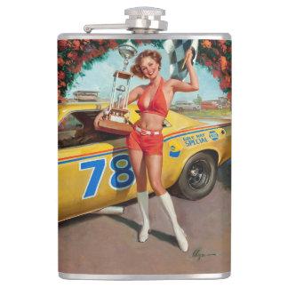 Race car trophy vintage pinup girl flask