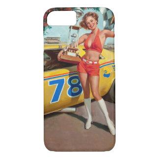 Race car trophy vintage pinup girl iPhone 8/7 case