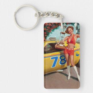 Race car trophy vintage pinup girl keychain