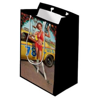 Race car trophy vintage pinup girl medium gift bag