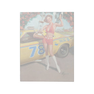 Race car trophy vintage pinup girl notepad