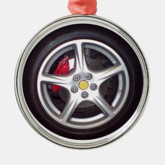 Race Car Wheel Metal Ornament