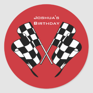 Race Cars Chequered Flag Envelope Seal Sticker