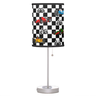 Race Cars Racing Flags and Checkered Pattern Table Lamp