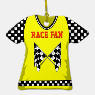 Race Flag Yellow/Red #25 Double-Sided T-Shirt Ceramic Christmas Ornament