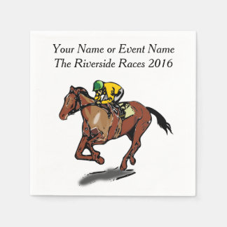 Race Horse and Jockey Custom Steeplechase Party Paper Napkins