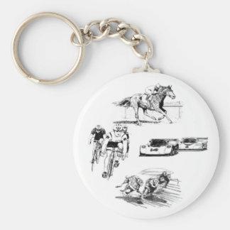 RACE - horse - bike - car - dog Keychains