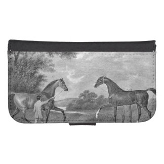 Race Horses Black and White Galaxy S4 Wallet Case