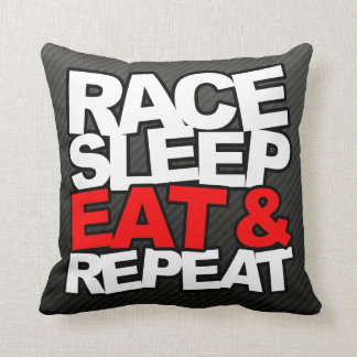 Race Sleep Eat & Repeat Throw Pillow