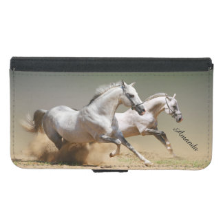 Race The Wind Horses and Monogram Name - Galaxy S5 Samsung Galaxy S5 Wallet Case
