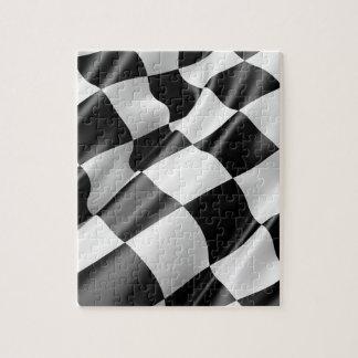 Race Track Flag Flag Black And White Finish Speed Jigsaw Puzzle