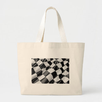 Race Track Flag Flag Black And White Finish Speed Large Tote Bag