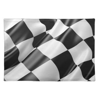 Race Track Flag Flag Black And White Finish Speed Placemat