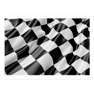 Race Track Flag Flag Black And White Finish Speed Postcard