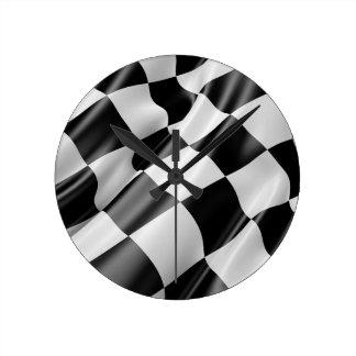 Race Track Flag Flag Black And White Finish Speed Round Clock