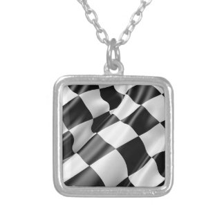 Race Track Flag Flag Black And White Finish Speed Silver Plated Necklace