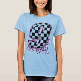 RaceFashion.com checkered number # 9 with pink T-Shirt