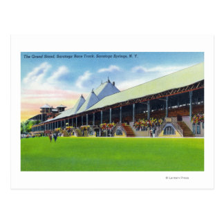 Racegrounds View of the Grand Stand at Track Postcard