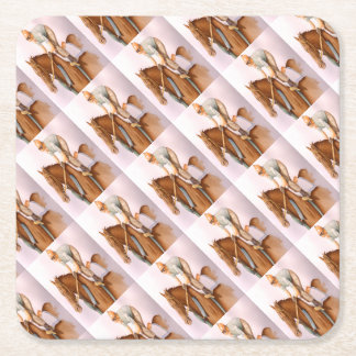 RaceHorse and Jockey Square Paper Coaster