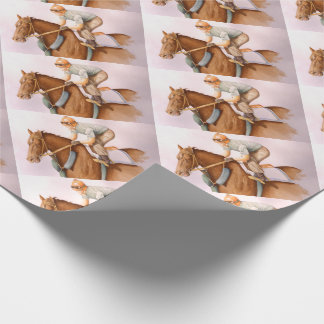 RaceHorse and JockeyWaterColor Wrapping Paper