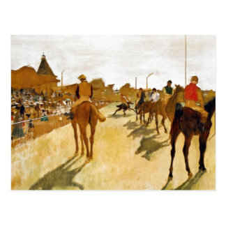 Racehorses before the Stands by Degas Postcard