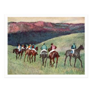 Racehorses in a Landscape by Edgar Degas Postcard