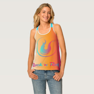 """Racer-back Tank Top with """"Rock-n-Roll Aqua Wave"""""""