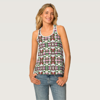 Racer Back Tank Women's Floral Color Blocked