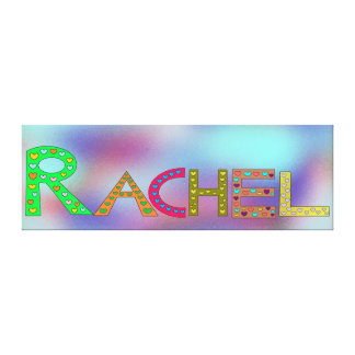 RACHEL Colorful Letters Design Abstract Background Canvas Print