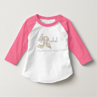 Rachel girls name meaning monogram hearts T-Shirt