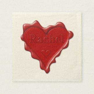 Rachel. Red heart wax seal with name Rachel Disposable Napkin