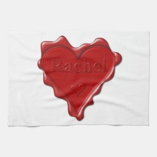 Rachel. Red heart wax seal with name Rachel Kitchen Towel