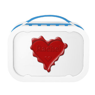 Rachel. Red heart wax seal with name Rachel Lunch Box