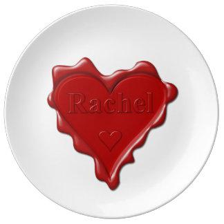 Rachel. Red heart wax seal with name Rachel Plate