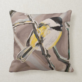 Rachel's Chickadee Throw Pillow