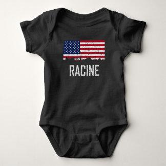Racine Wisconsin Skyline American Flag Distressed Baby Bodysuit