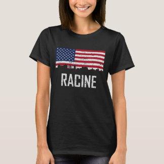 Racine Wisconsin Skyline American Flag Distressed T-Shirt