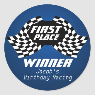 Racing Birthday Checkered Flags 1st Place Classic Round Sticker