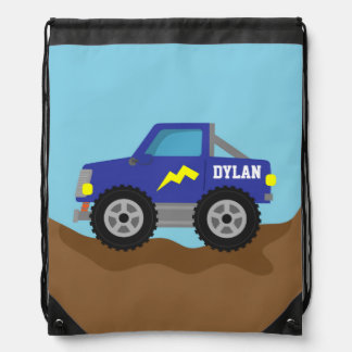 Racing Blue Monster Truck, for Boys Drawstring Bag